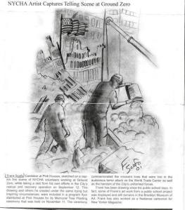 NYCHA workers at Ground Zero. Drawn by my uncle.